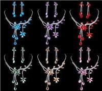 Wholesale 6Set New Prom Necklace Shining Earring Wedding Jewelry Set Flower Leaf Tassels Rhinestone Crystal