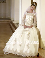 Free shipping 2013 new arrival  long sleeve lace wedding dresses ball gown bridal dress wedding gown plus size lace dress