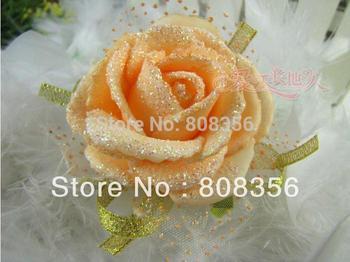 HOT 12Pcs/lot 6cm*4cm Artificial Simulation foam Rose Bride Wrist Flower Bridesmaid Hand Flowers Wedding Decorations