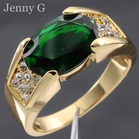 Jenny G Jewelry Size 9,10,11 Classic Green Emerald 10KT Yellow Gold Filled Gem Ring for Men Free Shipping