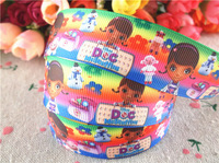 2013 new arrival  1'' (25mm)  doc mcstuffins grosgrain ribbon cartoon ribbon printed doc dog ribbon 10 yards