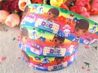 2013 new arrival  1'' (25mm)  doc mcstuffins grosgrain ribbon cartoon ribbon printed doc dog ribbon 10 yards tape