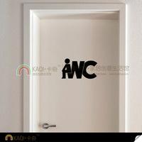 Toilet Sign Sticker Washroom Door Sticker WC Funny Design Scutcheon Toilet Door Decoration Stickers 25CMX14CM