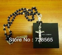 Brand New Sterling 925 Solid Silver Black Bead Cross Chain David Beckham Rosary Necklace  Pendant