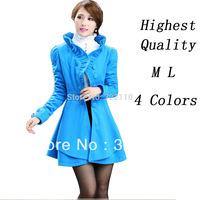 Women's Warm Costume Winter Wool Coat Jacket 4 Colors 2014 Fashion Ruffles Outerwear Overcoat High quality