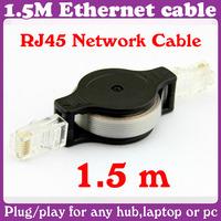 5 pcs/Lot_1.5M Retractable Ethernet LAN RJ45 Network Cable_Free Shipping