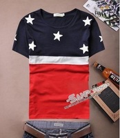 2014 new summer Korean male models Lin curved star American flag T-shirt tide brand men's fashions