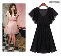 New Korean Women Chiffon Summer New Fashion Short Sleeve Dress