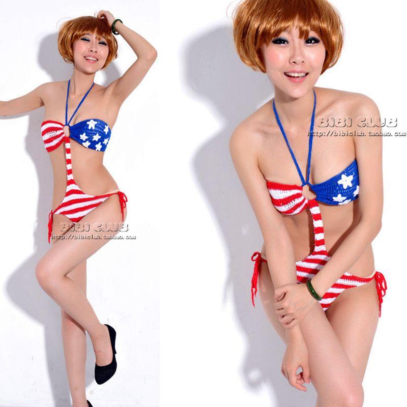 Sexy ds steel pipe american flag costume handmade knitted one piece bikini swimwear t009(China (Mainland))
