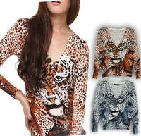 2013 leopard print slim sweater tiger V-neck all-match cardigan coat female sun protection shirt