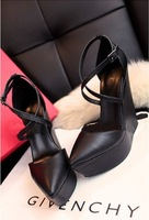 Free shipping women shoes jeffrey campbell spike platform wedges,new fashion black Cheap discount pointed toe ankle strap heels
