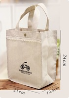 Newest shopping bags lunch pouch bags 2013 summer trend handbag cotton & jute with graceful lace carry bags high quality totes