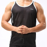 Hot-sale Polyester Mens Active Undershirt Mesh underwear Men Vest Men Sport Tank Tops  Free shipping