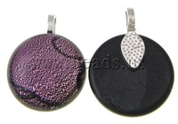 Free shipping!!!Dichroic Glass Pendants,Wholesale Jewelry, Flat Round, mixed colors, approx 20x20x6-7mm, Hole:Approx 4x3mm