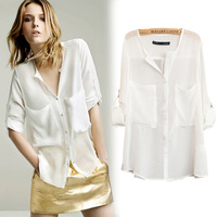 new 2013 fashion Chiffon shirt fresh solo female blouse fashion all-match pocket small lapel shirt free shipping