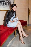 - 2 angelababy ruslana korshunova metal pointed toe high-heeled shoes single shoes fashion