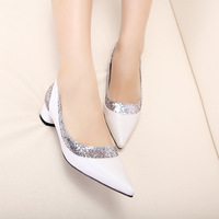 New arrival 2013 fashion thick heel pointed toe shoes fashion women's shoes