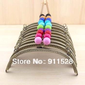 10 pieces/lot 20.5cm Embossed Bronze Metal Handbag Frame Candy Ball Bag Frame High Quality Nana Fabrics Accessory N1061