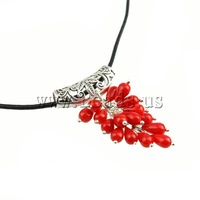 Free shipping!!!Coral Necklace,Punk Style, Synthetic Coral, with Leather, zinc alloy lobster clasp, red, 4x8mm, Length:17