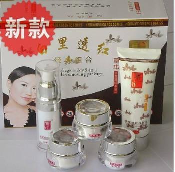 free shipping Tongrentang white and red   Herbal essence spot cream+  whitening cream +sun cream +cleaner+toner