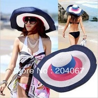 2013 new Color striped straw hat summer beach sun shading woman and children style hat children's parent-child cap  130429184