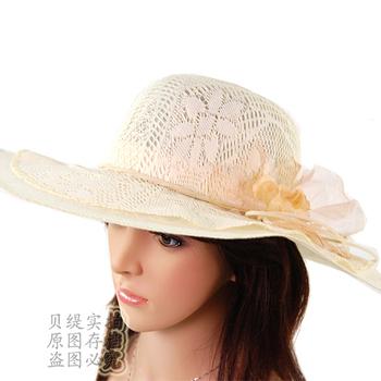 Big along the cap sunbonnet anti-uv cutout flower strawhat female summer hat