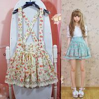Vintage rustic anthocaulus lolita lace decoration strap bib pants skirt