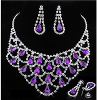 2013 New Fashion Charm 6Colors Optional Wedding Drops Huge Crystal Rhinestone Statement Necklace Earrings set Gift