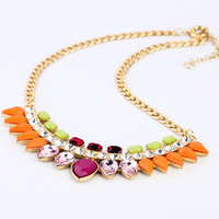 Wholesale 2013 new fashion delicate multicolored acrylic stone short necklace for women