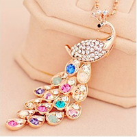 18k gold plated  peacock long design necklace long design crystal necklace  noble and elegant free shipping  X145