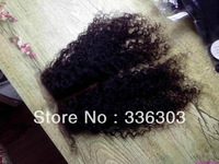 Grade AAAAA 10inch-22inch Malaysian Natural Color Kinky curly Closure free shipping, Curly  Free Part and Middle Part Closure