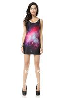 FREE SHIPPING Skirts Women 2013 Fashion Walker TQ025 High Flexible Galaxy  Printed Slim Vest Skirts Plus Size Wholesale