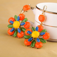 New arrival shining exaggerated fashion orange flower earrings women party