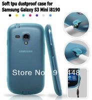 Free shipping  Soft silicon Semi Transparent Gel Anti-skid TPU dustproof plug case for Samsung Galaxy S3 Mini i8190