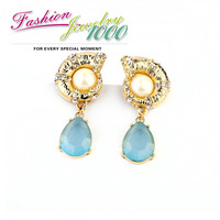2013 New Arrival Designer Blue Resin Stone Snail Drop Earrings Vintage Fashion Rhinestone Jewelry For Women Free Shipping