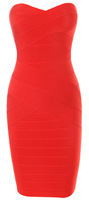 Top Quality Red Off Shoulder Slim Fit Party Club Sexy  Wear  Elastic Knitted Women Sexy Bandage Dress