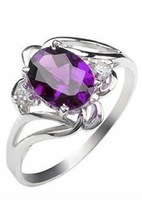Silver platinum natural amethyst ring female fashion