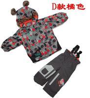 Gagou tagou 4-piece  set ploughboys ski suit cotton-padded jacket +bib pants snow set outdoor winter clothes -30 Celsius
