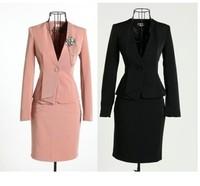 Professional set women's fashion formal slim work wear ol white collar piece set career dress set