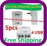 5 pcs Free Shipping 2013 new 5V 4.5A USB Travel charger adapter 4 usb port power adapter UAS/EU/UK/AU Plug