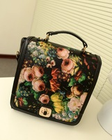 2013 vintage handbag cross-body double-shoulder student bag shopping oil painting rose casual bag