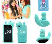 Cute 3D Silicone Rubber Case Skin Cover For iphone 4 4G 4S Back Case Cover