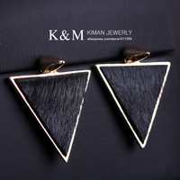 K&M Jewelry Black Triangle Leather and Alloy Punk Earrings for Girl Min Order Is $10