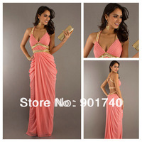 Top Quality Modern Sparkly Beading Halter Long Cheap Chiffon Coral Prom Dress 2013 Pleated Evening Party Gown