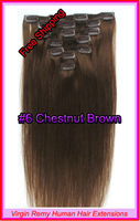 "Hot Sale15"" 18"" 20"" 22"" Clip In Virgin Remy Human Hair Extensions Colour #6 Chestnut Brown 70g"