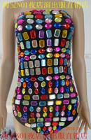 Female singer ds costume sparkling rhinestone tube top jumpsuit