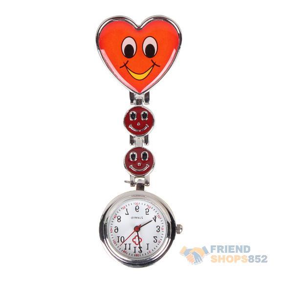 #F9s Nurse Round Quartz Wristwatch Timepiece with Heart Shape Cute Face Red(China (Mainland))
