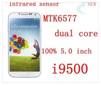 Real Infrared sensor 3G S4 I9500 dual core 1GB RAM MTK6577 100% real 5.0 -inch 8.0MP android smartphones