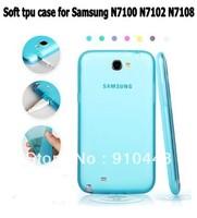 Free shipping Semi Transparent Soft TPU Gel silicone with dustproof plug case for Samsung Galaxy Note 2 II N7100 N7102 N7108