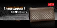 2013 New Gift For men wallet zipper long men phone purse cowhide 100% genuine leather small plaid handbag day clutch bag